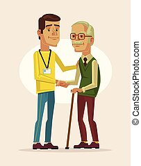 Social worker and grandfather. Vector flat cartoon illustration