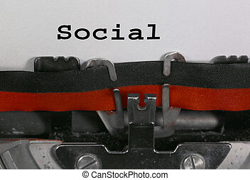 SOCIAL written with the old typewriter