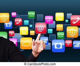 sociale, ansøgning, ikon