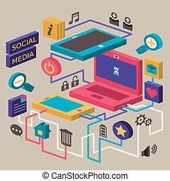 sociale, appartamento, concetto, disegno, media