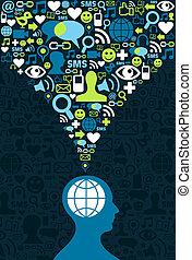 sociale, comunicazione, schizzo, cervello, media
