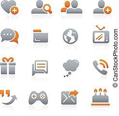 sociale, comunicazioni, icone, grafite
