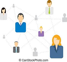 sociale, connettere, rete, affari, /