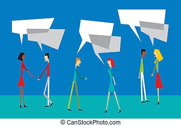 sociale, coppia, balloon, interazione