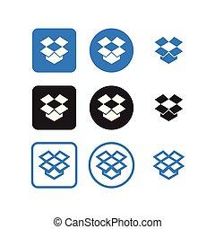 sociale, dropbox, media, icone