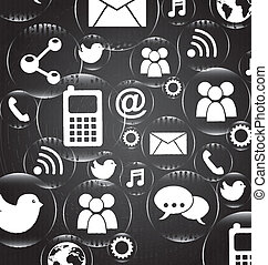 sociale, fondo, icone