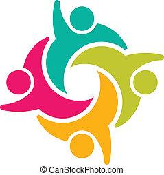 sociale, gruppe, 4, teammates, folk