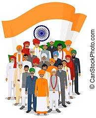 sociale, insieme, persone, adulto, vestiti, bandiera, tradizionale, style., standing, appartamento, fondo, gruppo, nazionale, illustration., differente, indiano, anziano, vettore, concept.