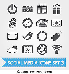 sociale, media, 3, set, icone