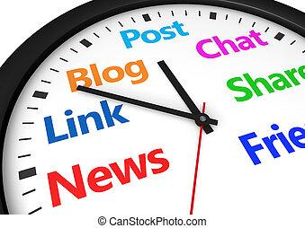 sociale, media, amministrazione, tempo
