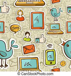 sociale, media, cartone animato, icone, colorito, modello