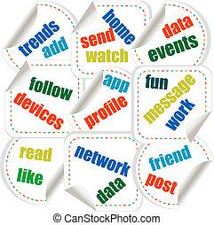 sociale, media, concetto, adesivi, in, parola, etichetta, nuvola