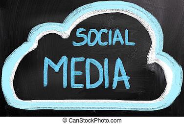 sociale, media, concetto