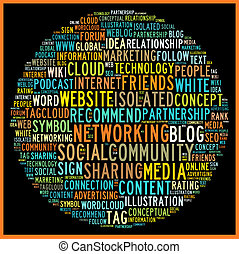 sociale, media, concetto, in, parola, etichetta, nuvola