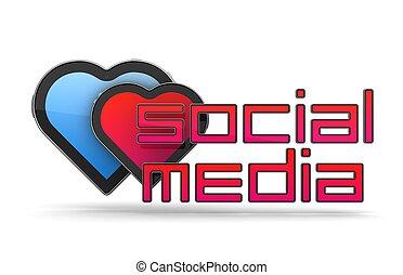 sociale, media, concetto, isolato, bianco
