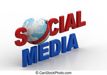 sociale, media, concetto, mondo