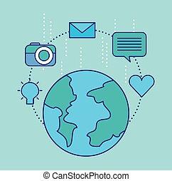 sociale, media, globo, concetto, comunicazione