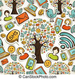 sociale, media, icone, albero, modello