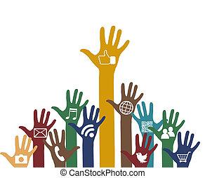 sociale, media, icone, mani