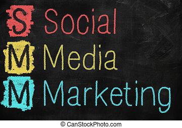 sociale, media, marketing, concetto