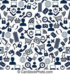 sociale, media, modello, icone