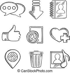 sociale, media, multimedia, sketched, icone