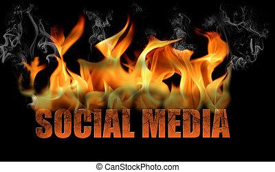 sociale, media, parola, fiamme