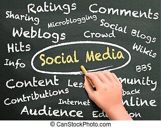 sociale, media, parole, mano scritta