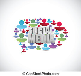 sociale, media, persone, discorso, bubble., illustrazione