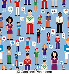 sociale, media, persone, rete, modello