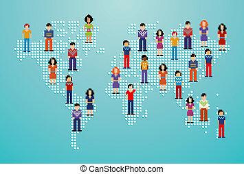 sociale, media, rete globale, persone