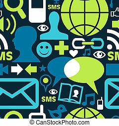 sociale, media, rete, icone, modello