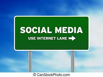 sociale, media, segnale stradale