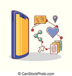 sociale, media, set, icone