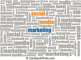 sociale, media, tagcloud, marketing