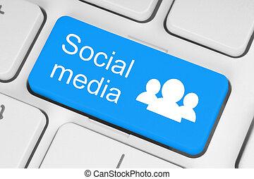 sociale, media, tastiera, bottone
