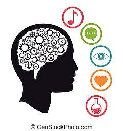 sociale, media, testa, knowlegdge, cervello