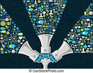 sociale, medier, begreb, markedsføring
