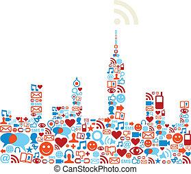 sociale, medier, begreb, netværk, byen