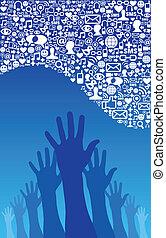 sociale, medier, hånd, netværk, iconerne
