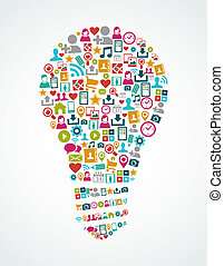sociale, medier, iconerne, isoleret, ide, lys pære, eps10,...