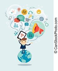 sociale, medier, illustration, begreb