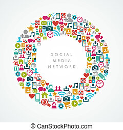 sociale, medier, netværk, iconerne, cirkel, komposition, eps10, file.
