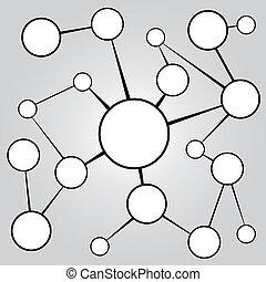 sociale, medier, networking, kort