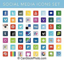 sociale, medier, sæt, iconerne