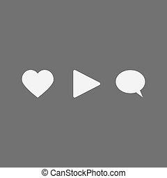 sociale, medier, sæt, netværk, iconerne