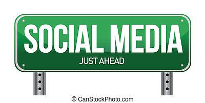 sociale, medier, vej underskriv, illustration