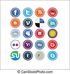 sociale, medier, vektor, iconerne