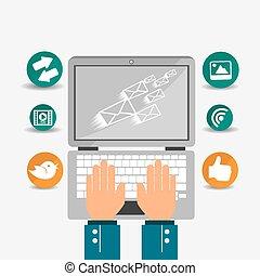 sociale, medier, vektor, illustration., konstruktion