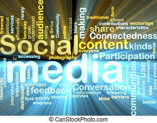 sociale, medier, wordcloud, glødende